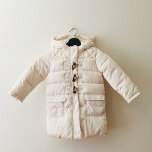 GAP | Cream Knee Length Toggle Puffer Coat